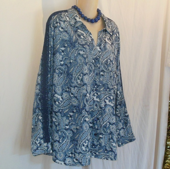 Westport Tops Blue Paisley Crocheted Lace Blouse Size 3x Ln Poshmark